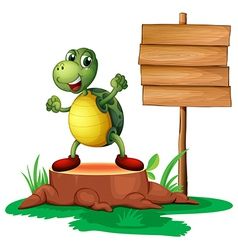 A trunk with a turtle near the wooden signboard vector image