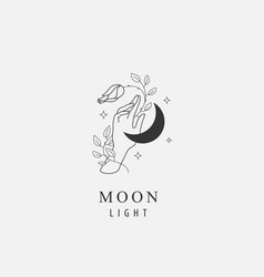 abstract logo - hand holding moon stars vector image