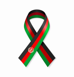 Afghani flag stripe ribbon on white background vector