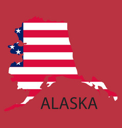 Alaska state of america with map flag print on vector