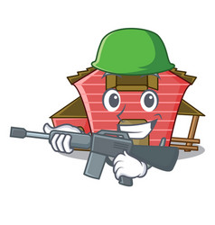 Army character red barn building with haystack vector