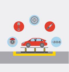 Automotive industry car production conveyor spare vector