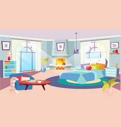 bedroom interior at daytime flat huge bed vector image