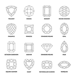 Black outlined gems cuts vector image