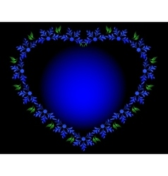 Blue heart with flowers and leaves for Valentines vector