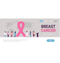 breast cancer day mix race woman group disease vector image