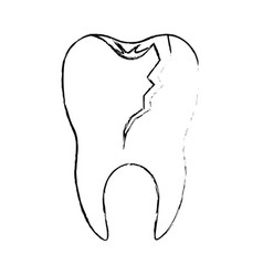 Broken tooth with root in monochrome blurred vector