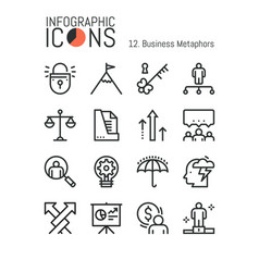 Bundle of simple thin line pictograms business vector