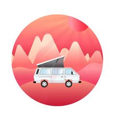 Camper van mountain trip retro car vector
