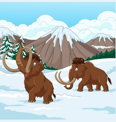 Cartoon woolly mammoth walking through a snowy fie vector