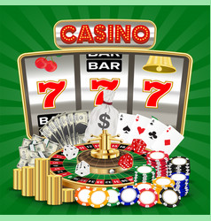 casino with slot machine card game roulette chips vector image