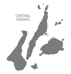 Central visayas philippines map grey vector