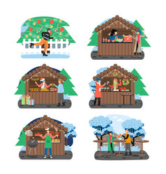 christmas fair set flat vector image