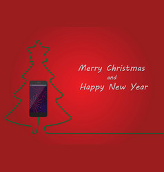 Christmas tree of charging mobile phone happy new vector