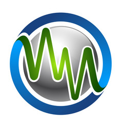 Circle letter wn or mn in heartbeat style concept vector