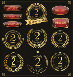 Collection anniversary retro laurel wreats 2 vector