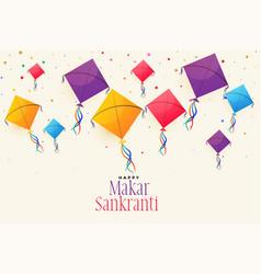 Colorful flying kites for makar sankranti festival vector