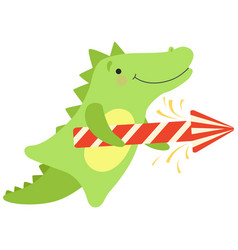 crocodile with a party popper cute cartoon animal vector image