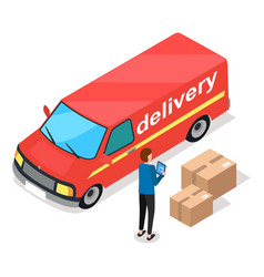 delivery service concept red freight car and a vector image