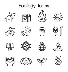Ecology sustainable lifestyle icon set in thin vector