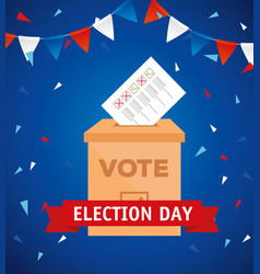Elections day and vote box with paper vector