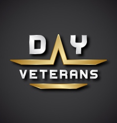 EPS10 veterans day text icon vector
