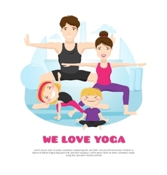 Family Practicing Yoga Cartoon Poter vector image