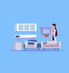 Female doctor check hospital ward equipment vector