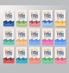 Fish fillets labels big collection abstract vector