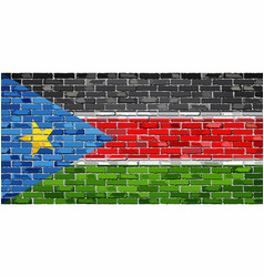 Flag of south sudan on a brick wall vector