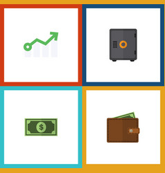 Flat icon incoming set of strongbox greenback vector