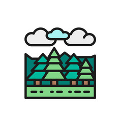 forest and trees landscape flat color line icon vector image