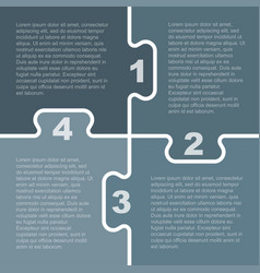 Four grey piece puzzle infographic 4 step vector
