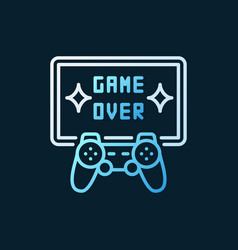 game over colorful line icon - gamepad with vector image