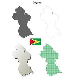Guyana outline map set vector