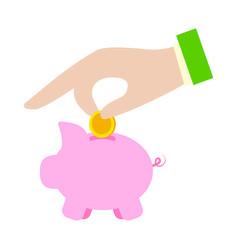 Hand and moneybox vector