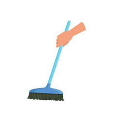Hand holding blue sweeping broom human hand with vector