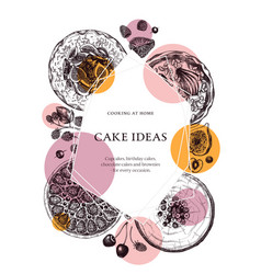 Hand sketched cakes and pies design in collage vector