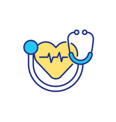 heart checking with stethoscope rgb color icon vector image