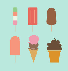 Ice cream set set of ice-creams and popsicles vector