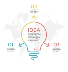 Light bulb infographic Idea chart with 3 steps vector image