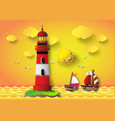 Lighthouse with seascape vector