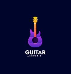 logo guitar gradient colorful style vector image