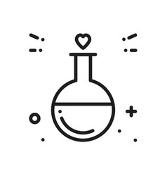 Love chemistry line icon test tube love fluid vector
