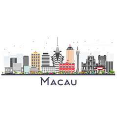Macau china city skyline silhouette with golden vector