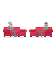 Male and female nurse resting vector
