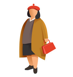 Mature woman wearing autumn clothes lady with bag vector