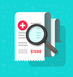 Medical receipt with magnifying glass flat vector