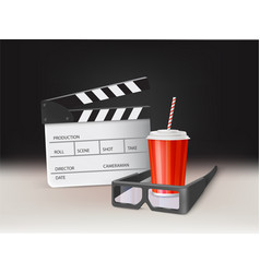 movie in cinema 3d realistic concept vector image