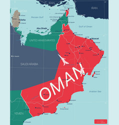 Oman country detailed editable map vector
